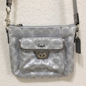 Coach small silver/gray crossbody C bag